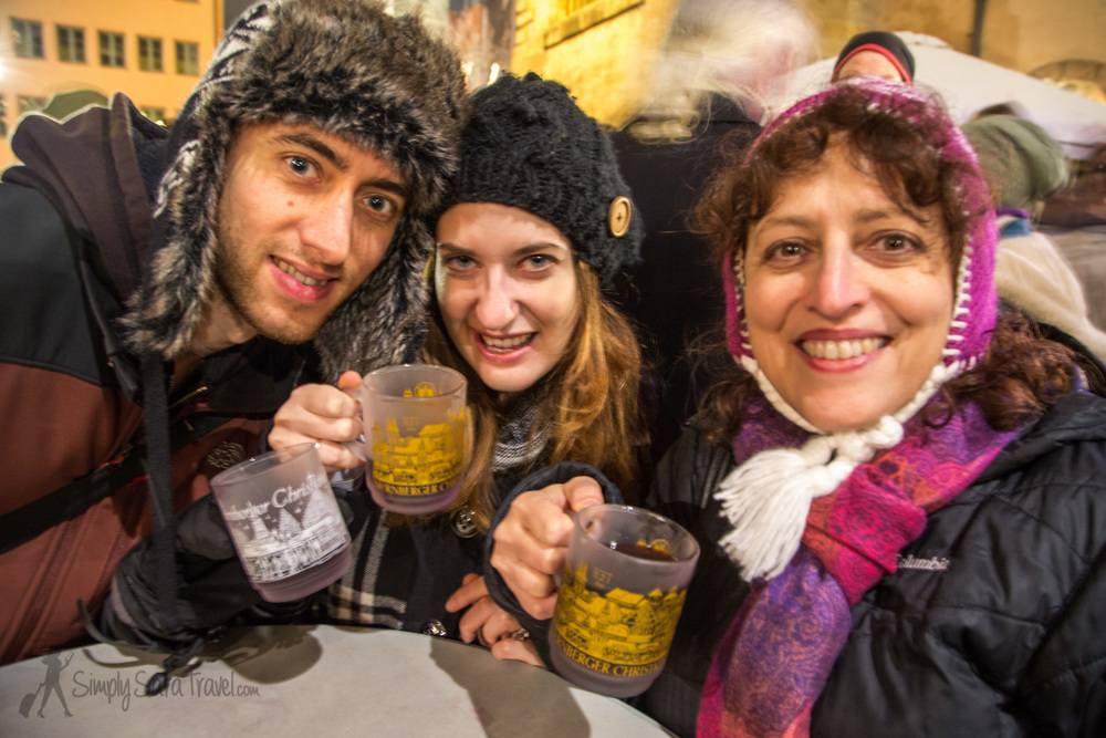 Photo credit: my dad | Apparently the best glühwein stand in Nuremberg is in the International market section at the Italian stand from Verona. 100% merlot! We chatted with a few locals nearby the stand who were all drinking the same.