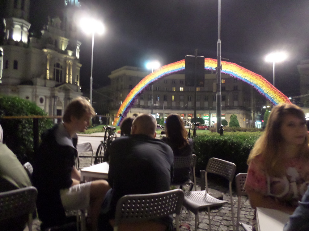 Night time at a cafe in Warsaw, Poland