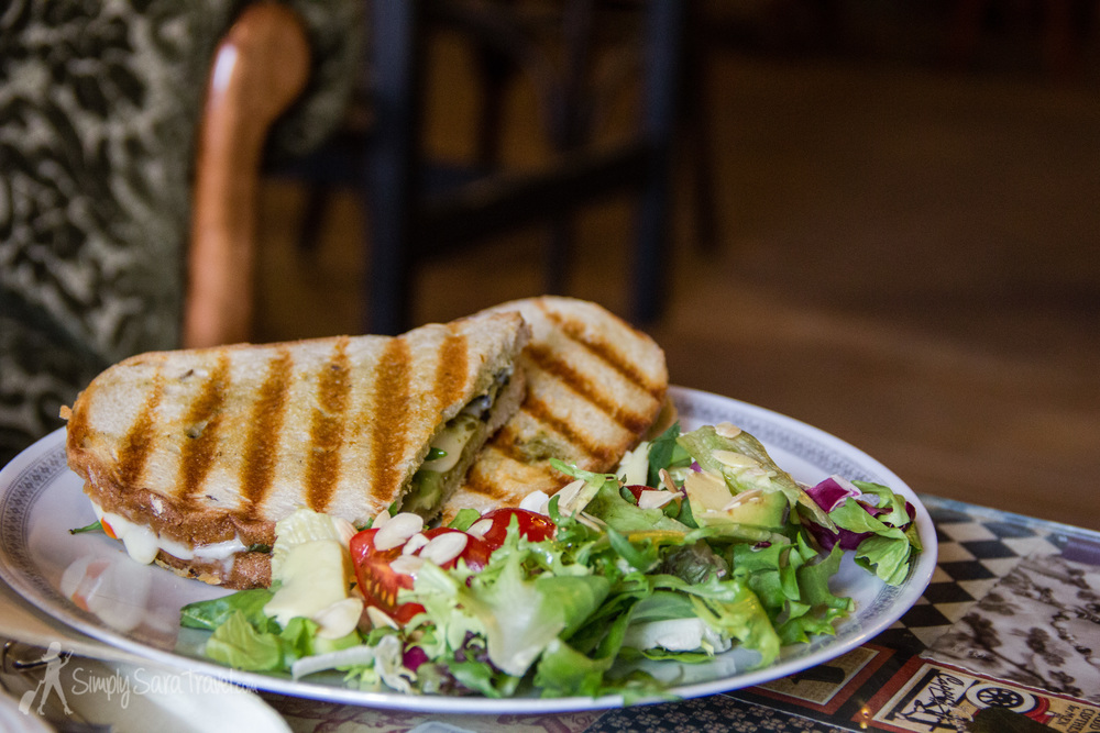 Sometimes a panini and salad are a welcome break from all those wonderfully fried  (though sometimes boiled, in our defense)  pierogies we consumed