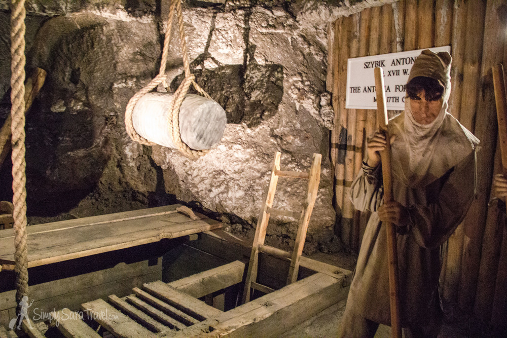 Model of a miner at work in the Wieliczka Salt Mine