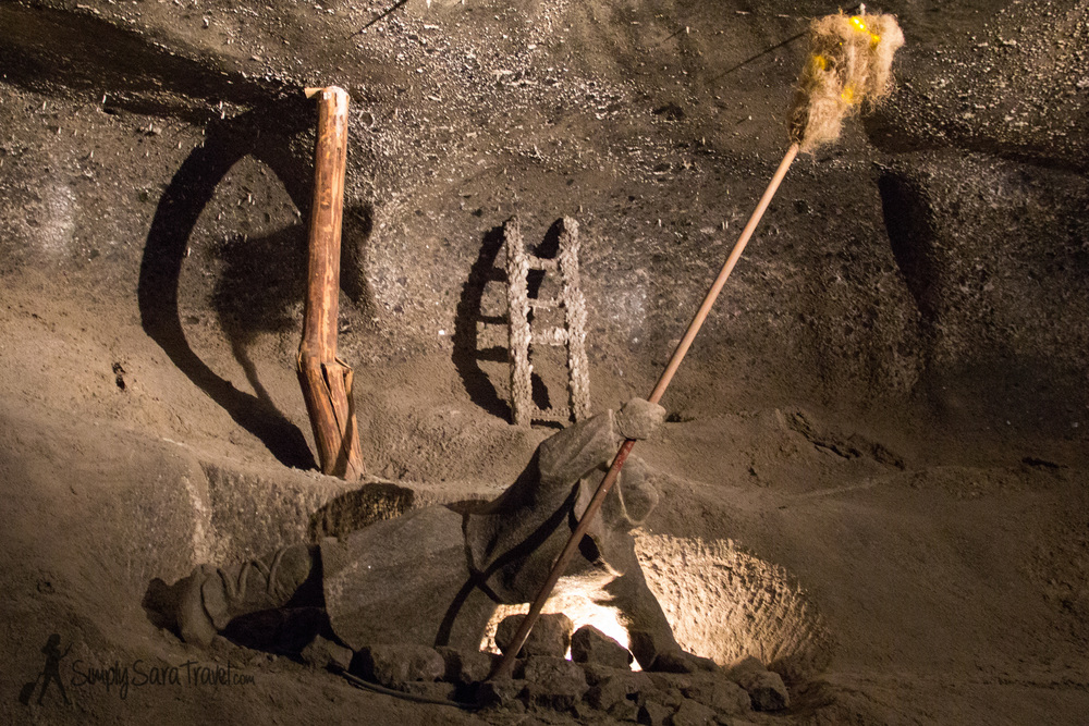 Sculpture of a miner working in the Wieliczka Salt Mine, Poland