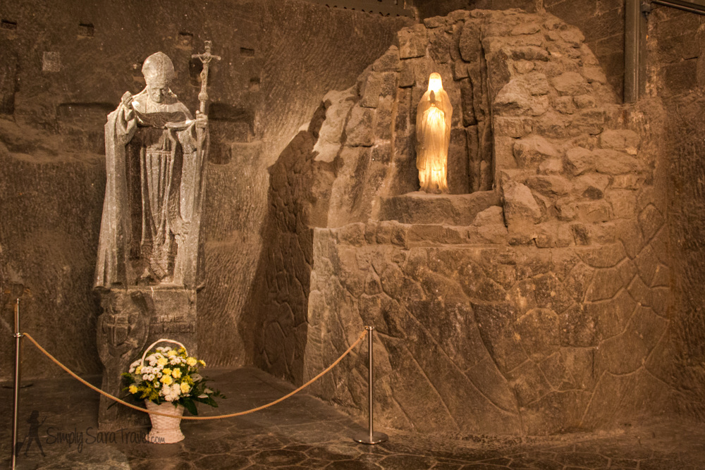 Of course there's a salt sculpture of Pope John Paul II in the chapel.