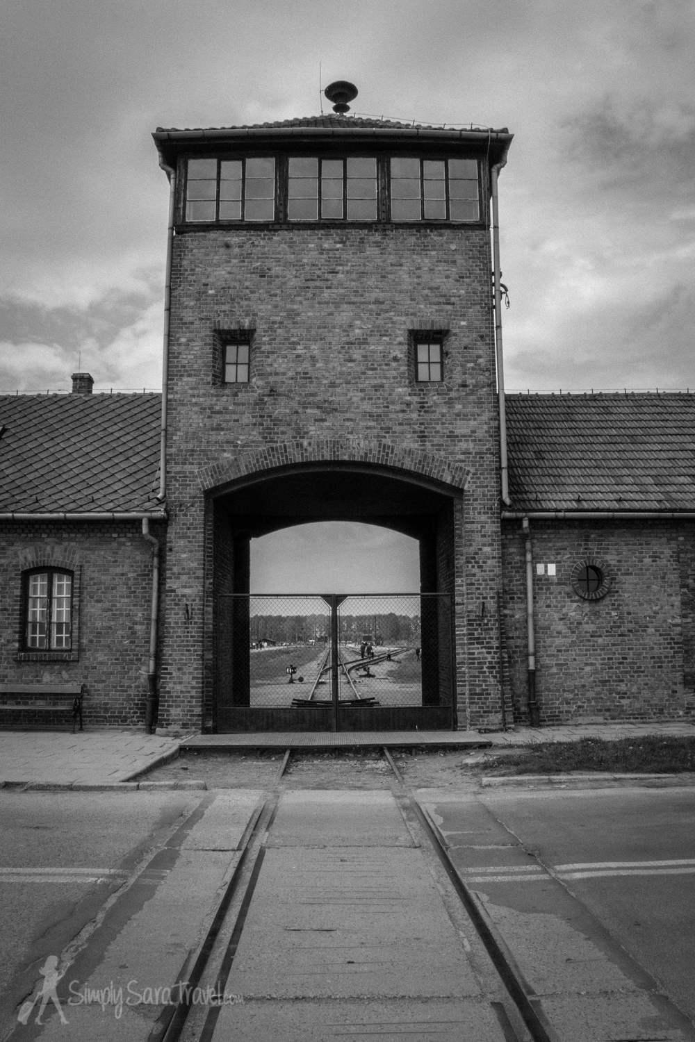 The main guard tower of Auschwitz II-Birkenau