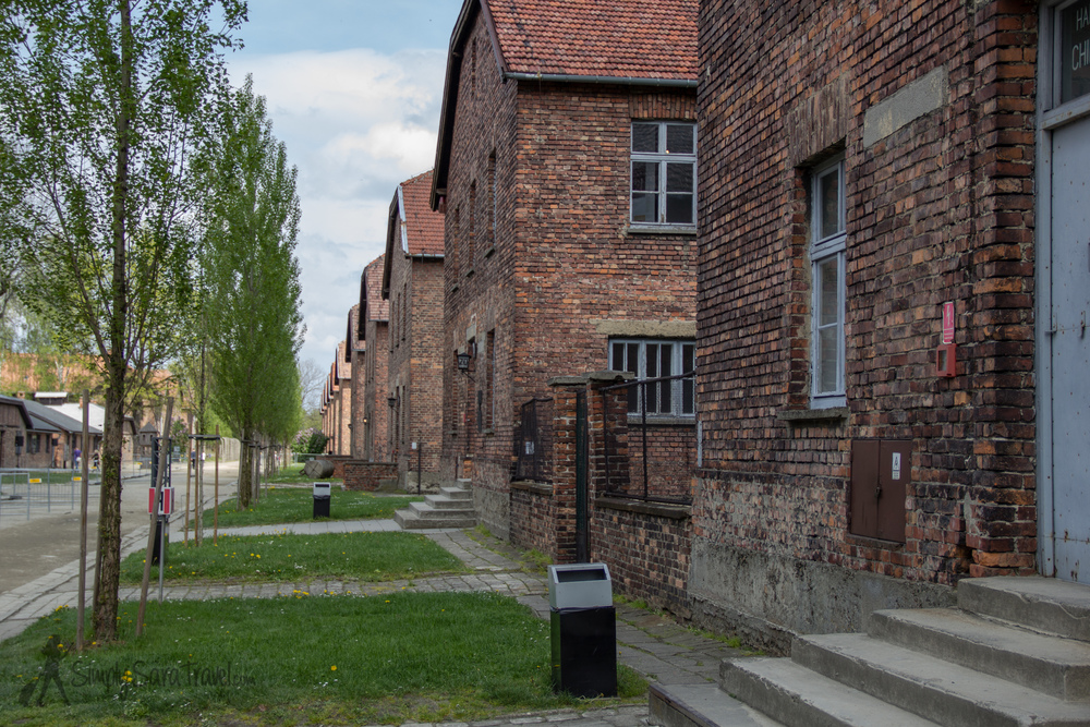 Brick buildings of Auschwitz I, which were originally military barracks