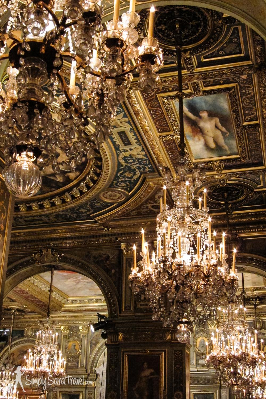 Lots of chandeliers in the ornateHôtel de Ville, Paris, France