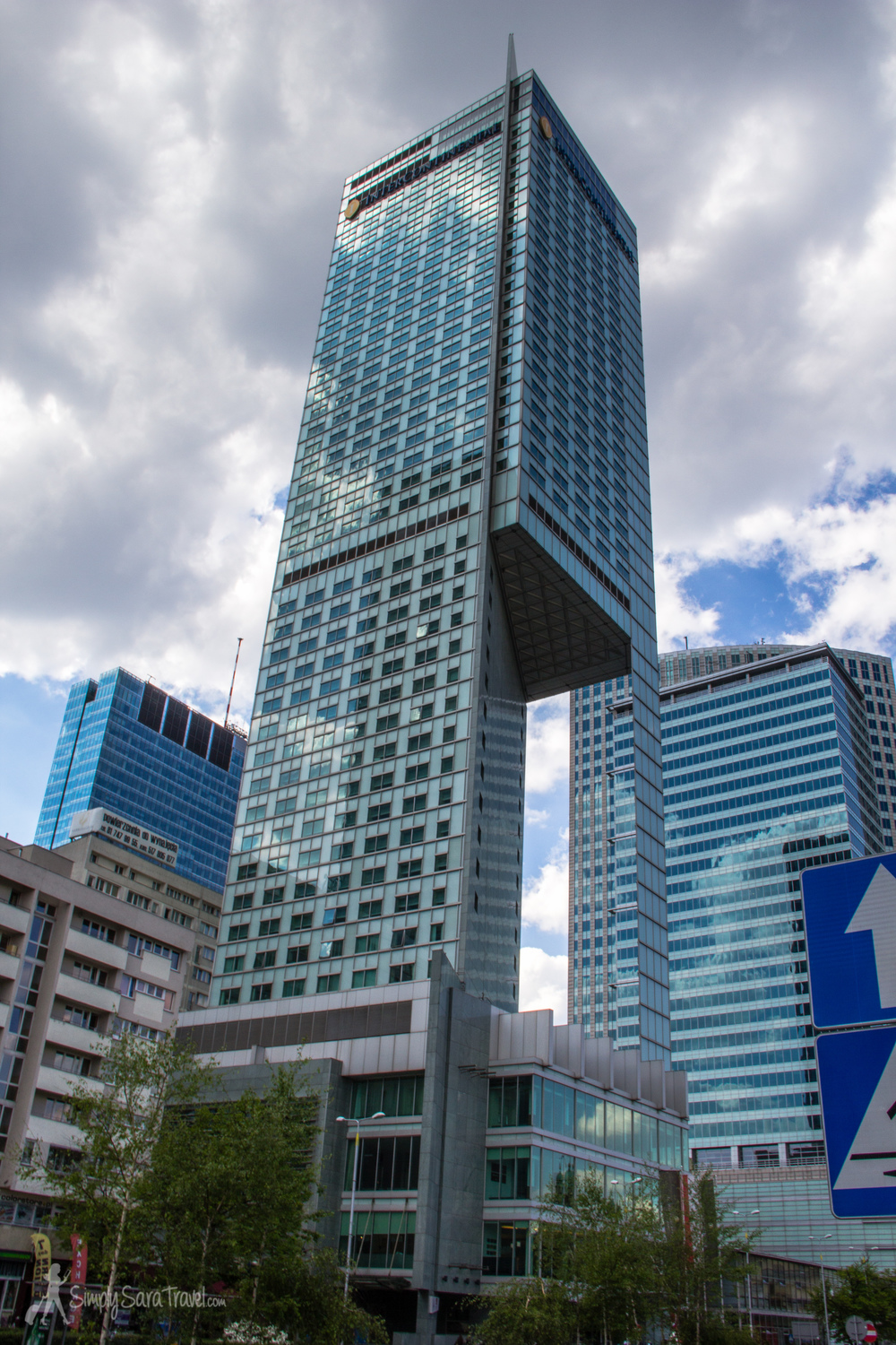 This unique building is the  InterContinental Hotel , a five-star hotel. Its unusual cut-out bothered Michael with its inefficiency,  yet I appreciated the character it added to Warsaw's skyline. (Typical engineer vs English literature degree debates...)