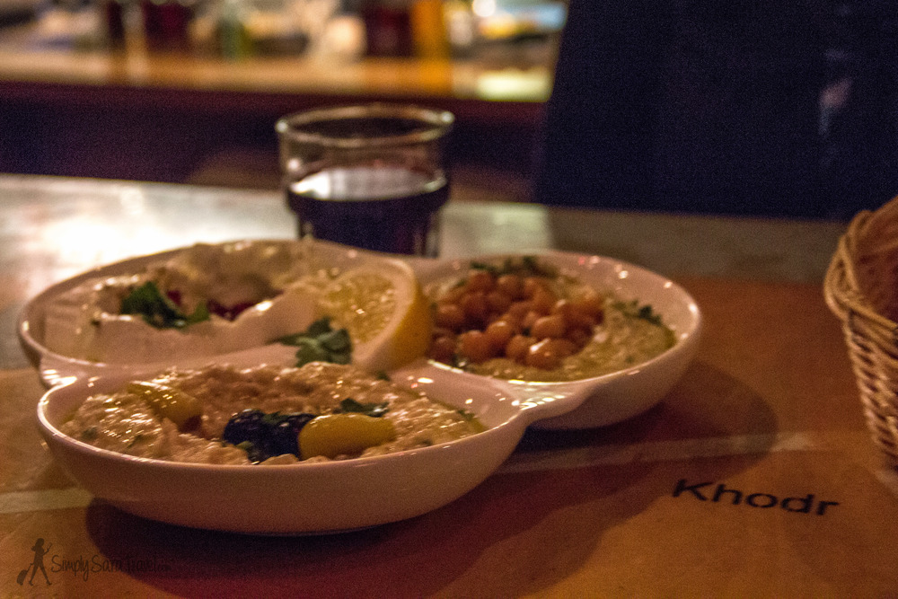 Our sampler of hummus, b aba ghanoush , and a third unknown at Beirut, Warsaw