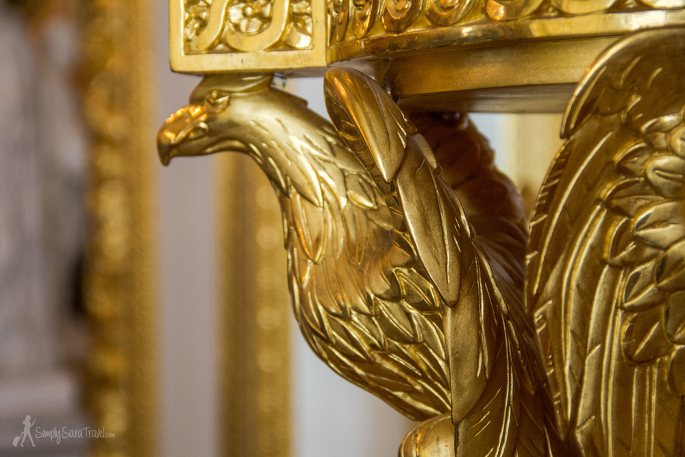 Gold eagle close-up in Royal Castle of Warsaw, Poland