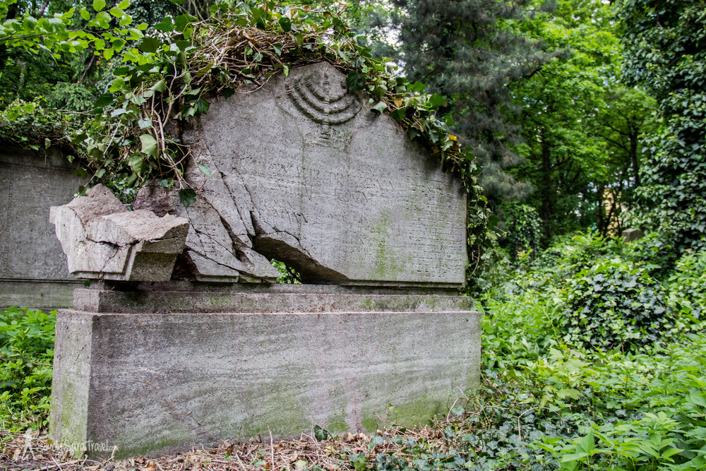 This tombstone with the menorah marks the grave of famous rabbi Ferdinand Rosenthal and his wife.