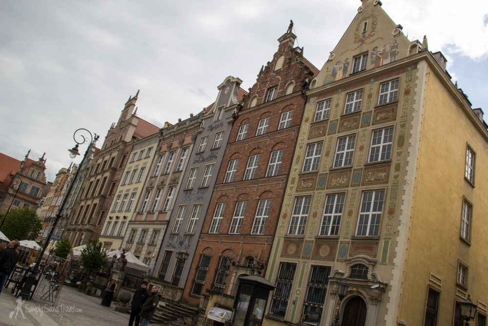 The ornate buildings of the Royal Way in Gdańsk