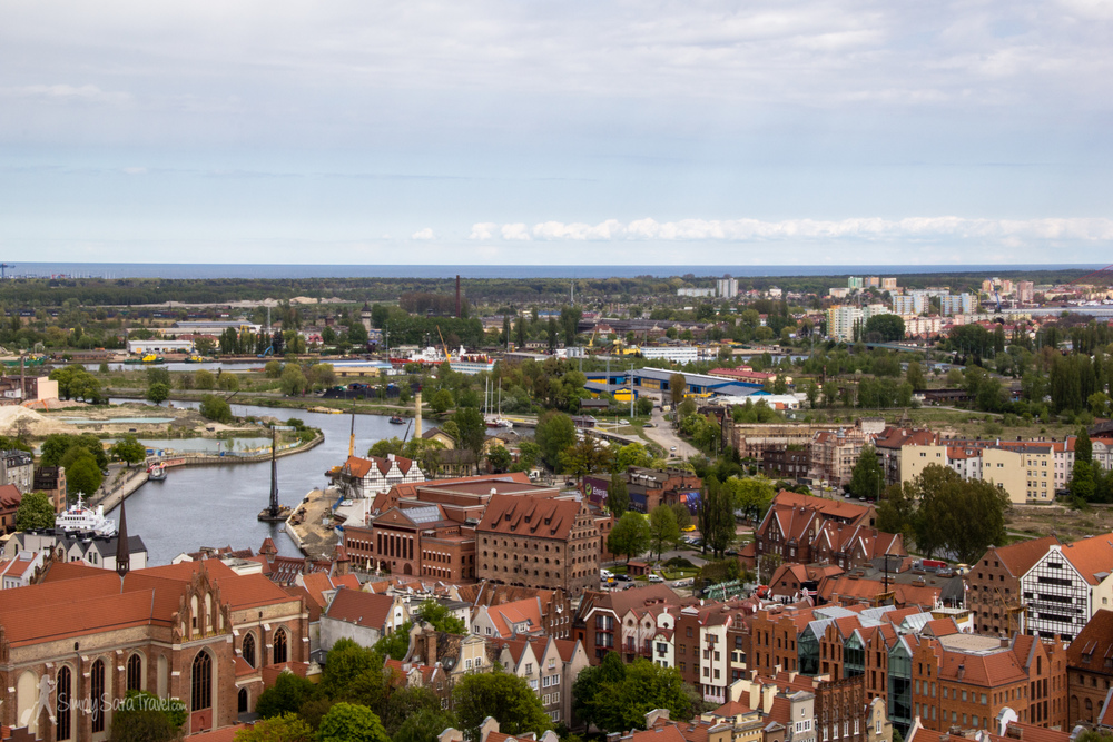 A view of Gdańsk, the Martwa Wisła river that runs through it, and even a glimpse of the Baltic Sea