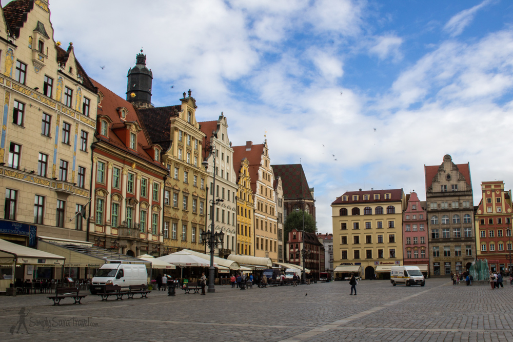 Wroclaw's Market Square (Rynek), the central square in the city. Only two cities in Poland have larger market squares (Krakow and Olecko).