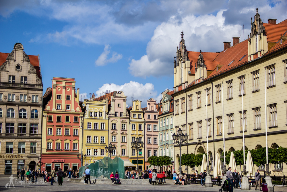 Colorful buildings of Market Square (Rynek) of Wroclaw, Poland
