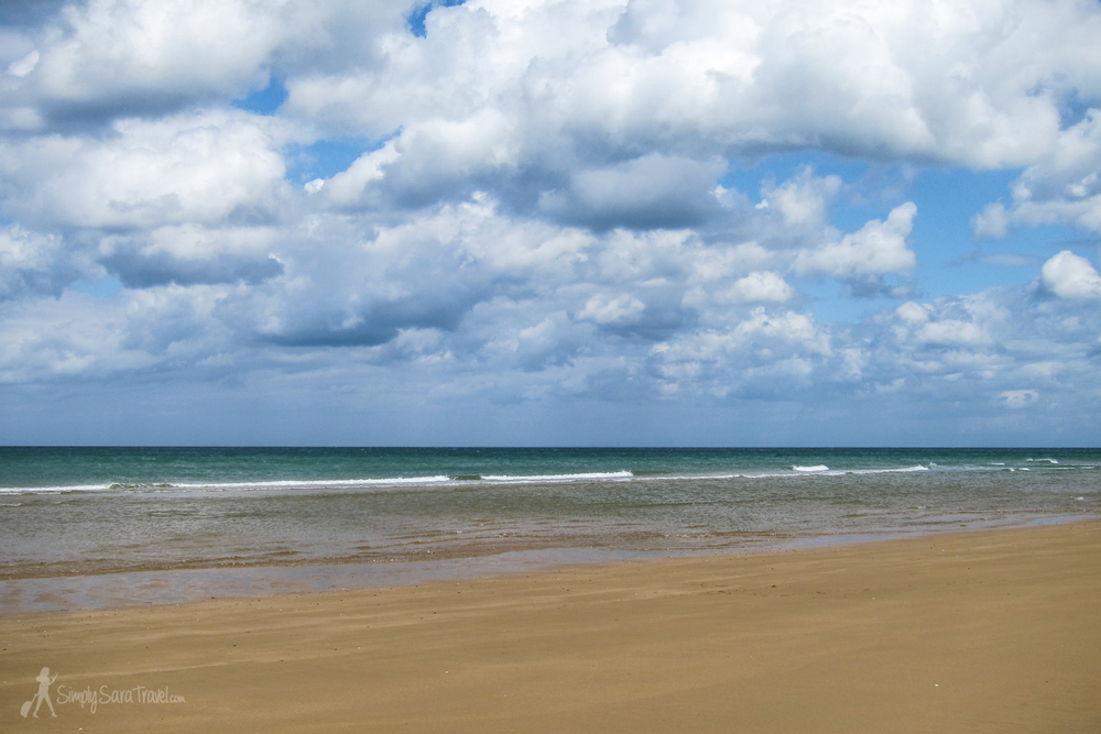 This is Omaha beach, one of the D-Day beaches. It was odd to us to think that people still sunbathe and swim here, but as our guide pointed out, there have been so many conflicts on European soil that it would be impossible to set aside land just because of its significance in a war. On a day like the one we had in June, only plaques, memorials, and our tour guide's stories reminded us of the grim past of this area.