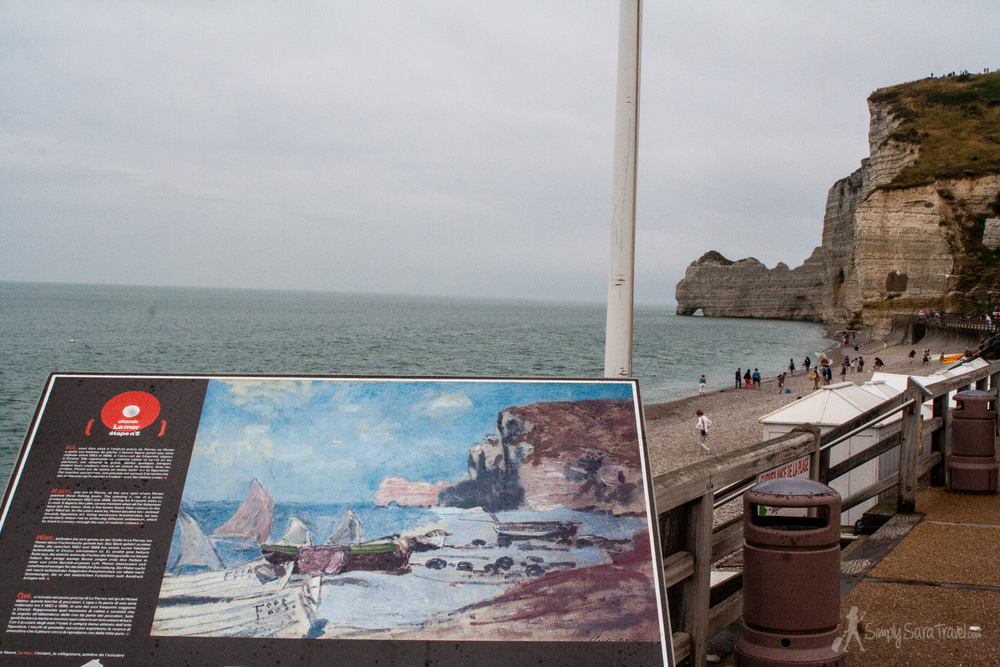 The same view Monet painted in Étretat.