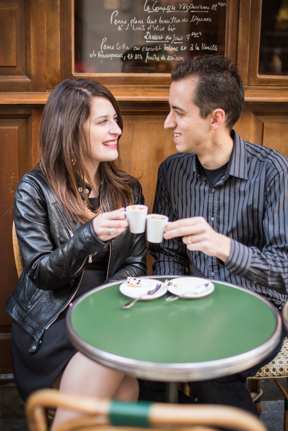 Espresso for two at Les Philosophes on rue Vieille du Temple