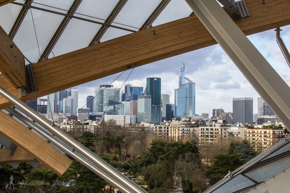 La Défense framed and on display from the terrace of the Fondation Louis Vuitton