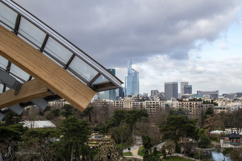 Jardin d'Acclimatation and the skyscrapers of La Defense as seen from Fondation Louis Vuitton, Paris, France