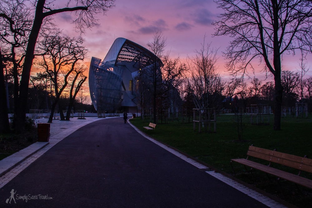 Vibrant sunset at Jardin d'Acclimatation with Fondation Louis Vuitton in western Paris, France
