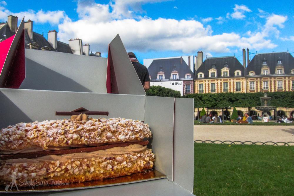 Time for a dessert picnic! Carette (who made this pastry pictured above) and Café Pouchkine are right on Place des Vosges, making them an ideal stop for some take-away sweets on the square.
