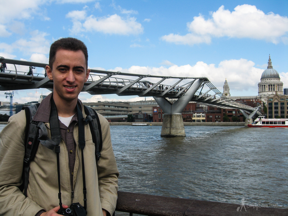 First time in London - here's Michael back in 2009 at the Millennium Bridge.