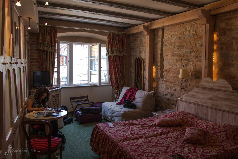 Inside our room in Colmar - the only one that we booked while we were on the road, about a week before we arrived (which is so not like me - I am a major planner!).