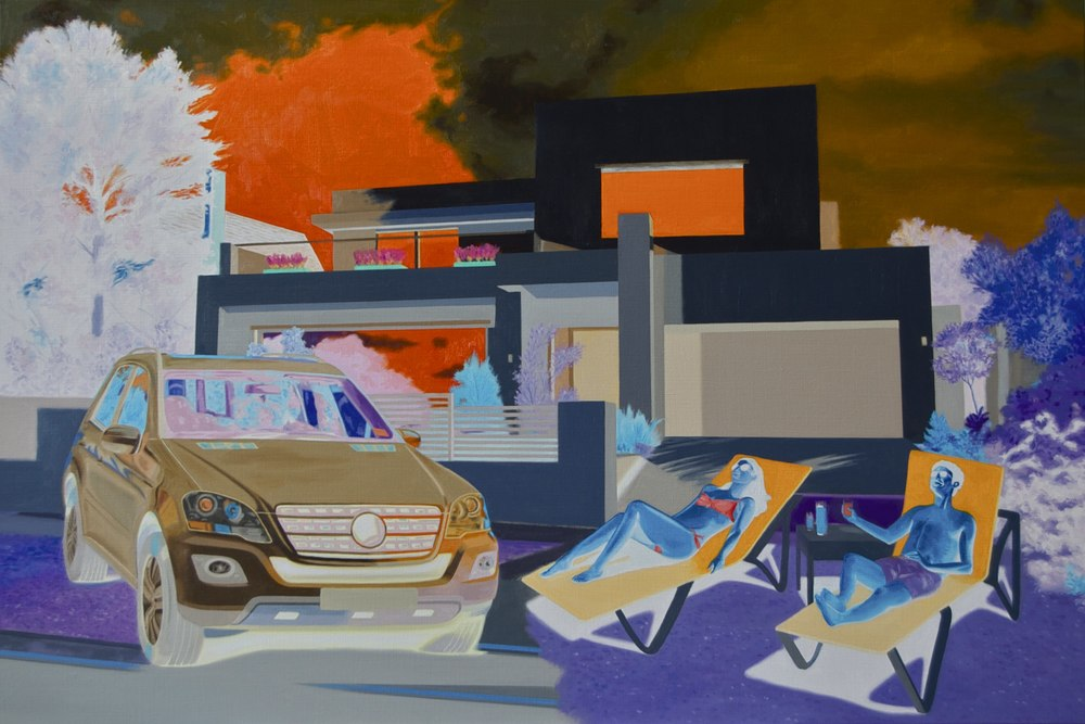 Richard Knafelc  Running on empty  2014 oil on linen 102 x 152.5 cm