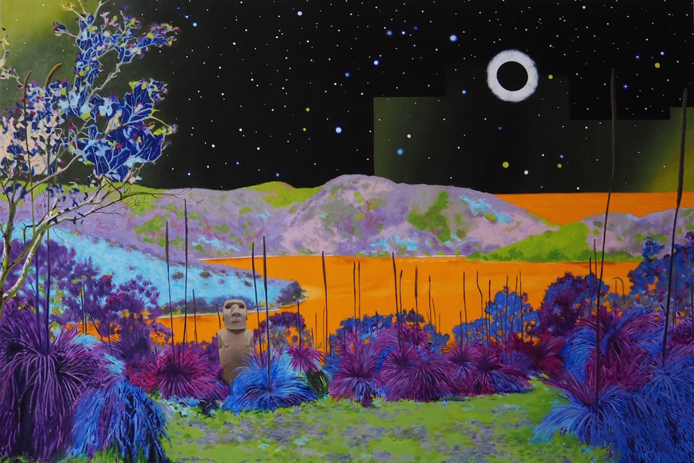 Richard Knafelc  Eclipse  2016 oil on linen 122 x 183 cm       RMIT MFA Graduate Exhibition   Opens 6pm Thursday 7 December 2017 and runs until Saturday 16 December.  RMIT Melbourne City Campus, Building 2, Level 3. La Trobe St Melbourne.  Hours: 10am - 4pm Monday to Friday.  12pm - 4pm Saturdays.
