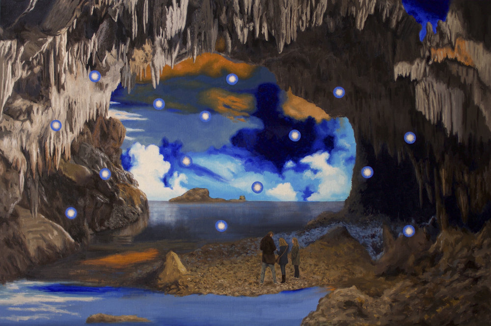 Reimagining Plato's Cave,  2018, oil on linen, 92 x 137.5 cm     Group Exhibition:  Subterranean    Subterranean: Exploring ideas of the unseen, the hidden, and that which exists under the surface, physically, imagined, and metaphorically.  Curated by Leanne Waterhouse for Coalesce -- a collective of past and present MFA students at RMIT. Coalesce is supported by RMIT Link Arts and Culture.  Artists: Sarah Austin, Pie Bolton, Rolando Garay-Matziaris, Louise Gresswell, Richard Knafelc, Dom Krapski, Garry Moore, Lizzy Simpson, Amber Stokie, Kat Teede, Leanne Waterhouse, and Jude Worters.  The exhibition runs from 18 July to 23 August in Campbell Arcade -- the subway between Degraves Street and Flinders Street Station, Melbourne.
