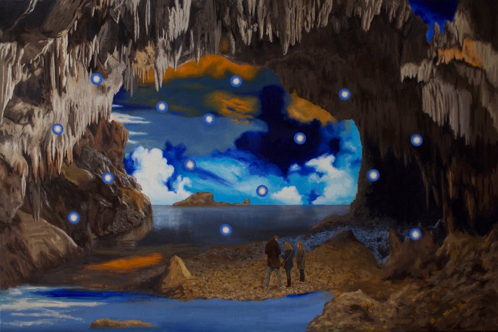 Reimagining Plato's Cave,  2018, oil on linen, 92 x 137.5 cm