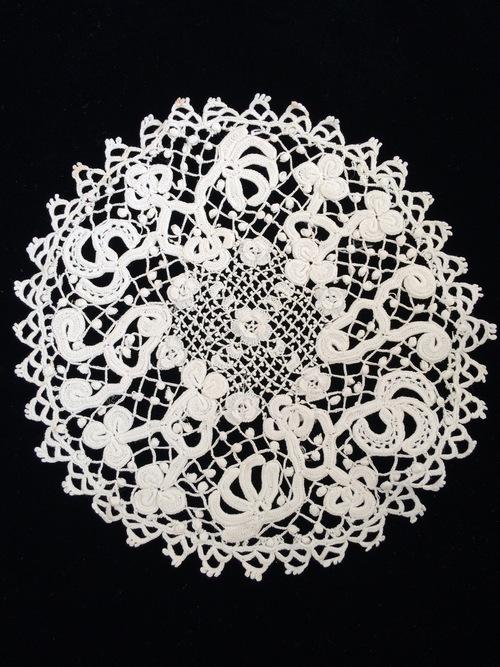 Antique Irish Crochet Lace Doiley Sheelin Lace