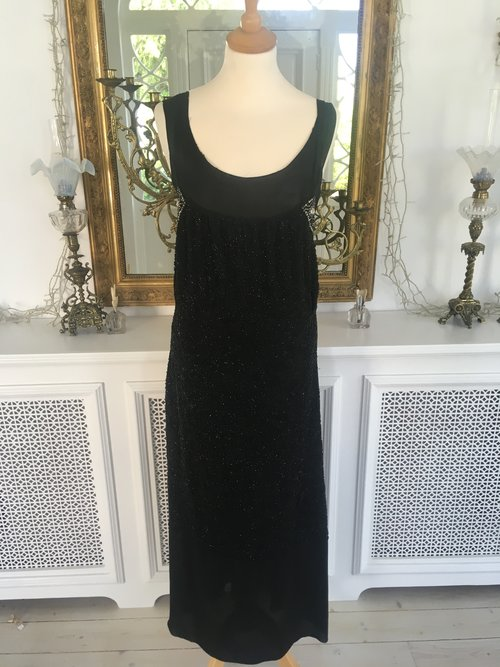 Black Beaded Evening Gown — Sheelin Lace
