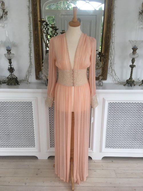 Peach Chiffon Nightgown — Sheelin Lace