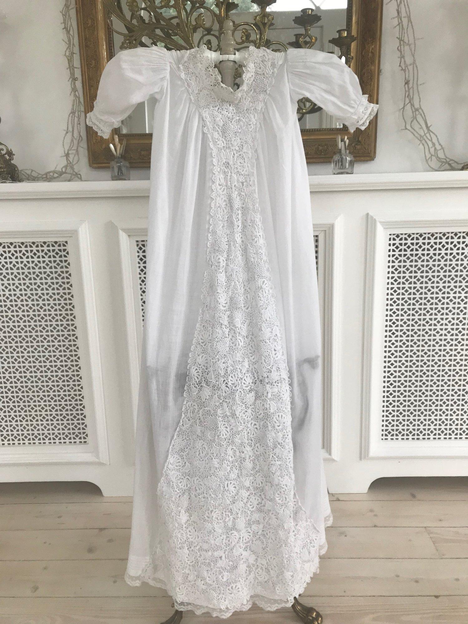 Antique Irish Crochet Lace Christening Gown Sheelin Lace