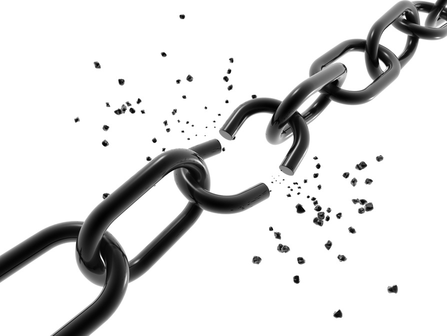 A computer generated image of a chain with a broken link.  A computer generated image of a chain with a broken link.