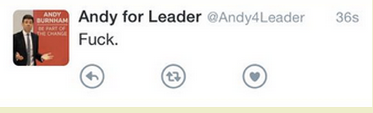 Andy Burnham's campaign team tweeting magnanimity in defeat (subsequently deleted)