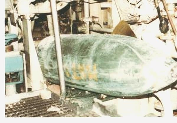 "HMS Argonaut 1000lb UXB in Boiler Room (above) - my mattress was used to stop it rolling. (Top right). The ship was ""Full Ahead"" on both engines when the Skyhawks struck."