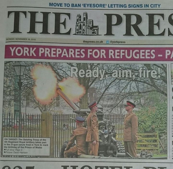 Unfortunate front page copy in the York press................