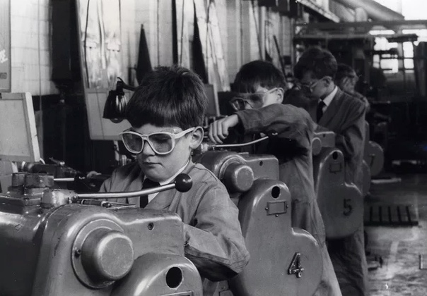 Schoolboys doing metalwork in the 1960's, (much more interesting than maths and easily my favourite subject. I made a trowel and a screwdriver).