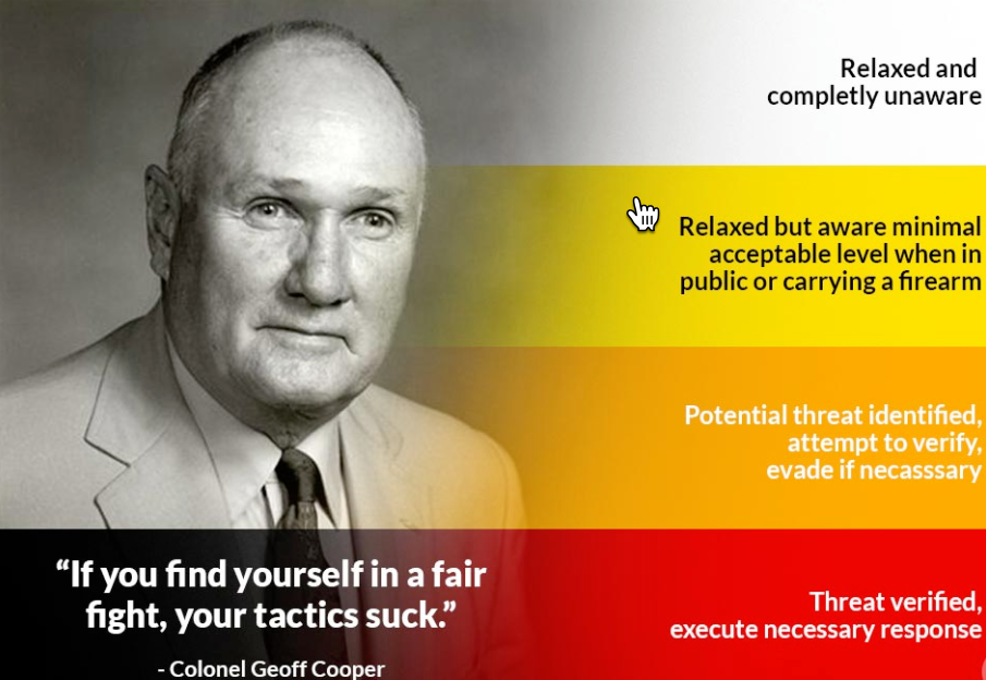 COL. JEFF COOPER WAS A LEGEND IN THE US SHOOTING AND SELF-DEFENCE WORLD. IN ADDITION TO BEING INSTRUMENTAL IN REFININGAND POPULARISING MANY MODERN PISTOL AND SELF-DEFENCE TECHNIQUES HE BELIEVED, IMPORTANTLY, THAT THE MIND WAS THE BEST SURVIVAL TOOL.