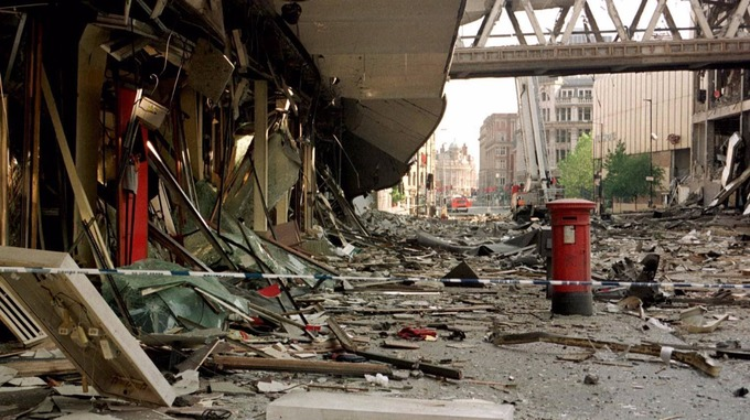 The Manchester bombing in 1996; 3,500 lbs of Semtex and ammonium nitrate in an area where 80,000 people worked or were shopping.
