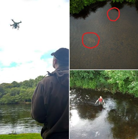 Using a drone on the Ness to locate spawning 'redds,' of the Pink Salmon