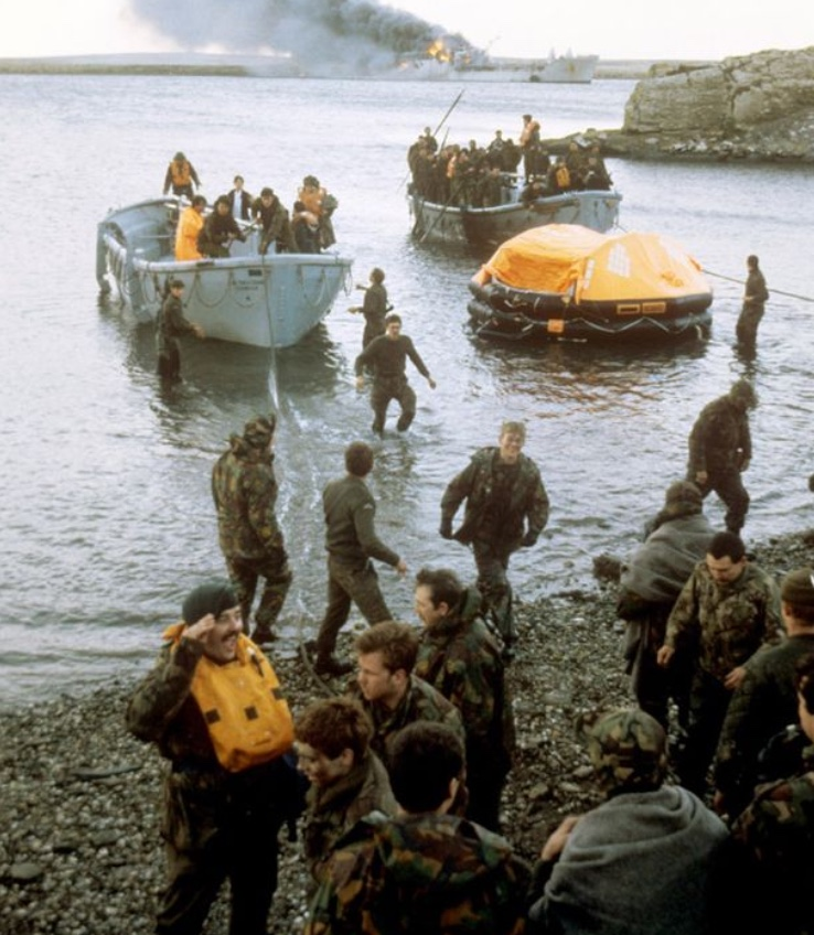Casualties coming ashore from Sir Galahad