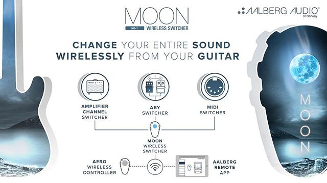 """WIN one of the first ever produced MOON MO-1 Wireless Switcher!  This is how you enter: 1. Go to Thunderclap from link in our profile 2. Click on of the red """"support with"""" button, then """"add my support"""" 3. That's it! You've entered to win one of the first AALBERG MOON!  #guitar #guitarpedals #guitarfx #guitarporn#gearporn #amp #amplifier #marshall#orangeamp #orangeamps #fenderguitar#fenderguitars #fenderguitarsusa#Aalbergs #aalbergaudio #norway#madeinnorway #visitnorway#knowyourtone #geartalk #giveaway #winit"""