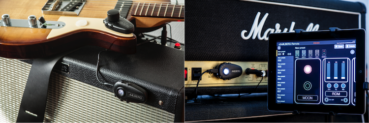 The Remote APP display and the MOON attached to a Marshall JCM 900 amp (left) and the AERO controller attached to an electric guitar & the MOON attached to a Fender Hot Rod Deluxe III Amp (right).
