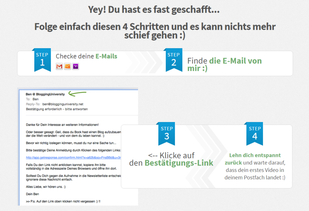 """Gutes Beispiel, wie du den Nutzer """"an die Hand nehmen"""" und das Double-Optin-Verfahren erklären kannst.  Quelle: blogginguniversity.net"""