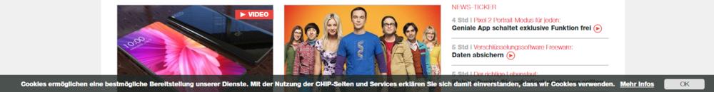 Cookie Popup auf chip.de