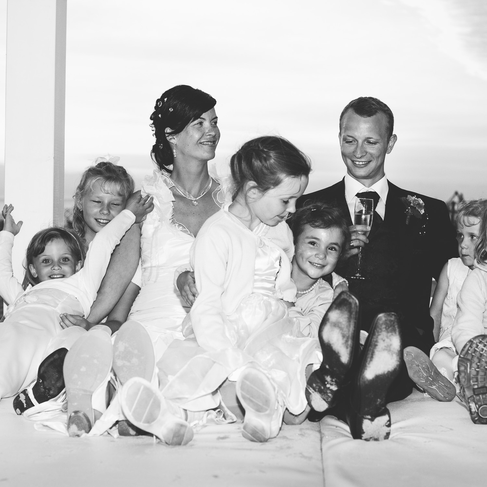 Hochzeitspaar Kinder Strand