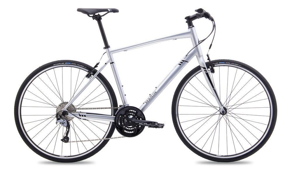 Our new Marin Fairfax hire bikes look like this with the addition of mudguards, a rack, lights, bell and a lock fitted. - These are lighter and have more gears than 'Boris' Bikes.