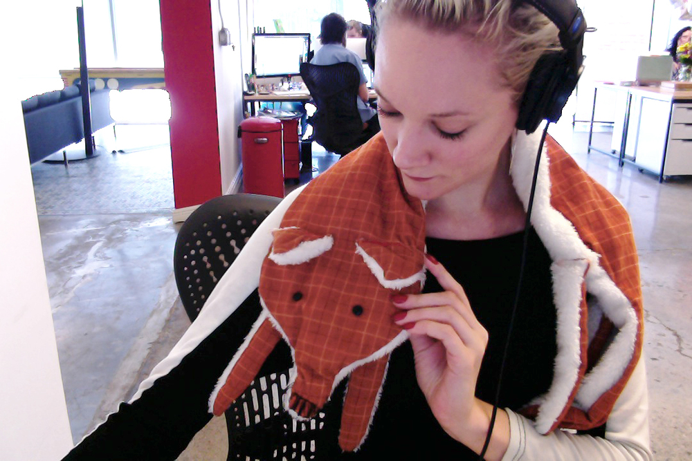 My coworker Andrew brought this foxy scarf to the studio during the weeks we were working on the project.